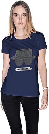 Creo Beach Hat Glasses T-Shirt For Women - Xl, Navy