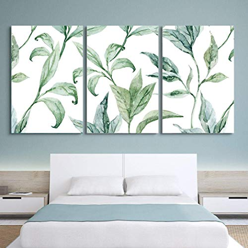 3 Panel Watercolor Style Green Leaves on White Background x 3 Panels