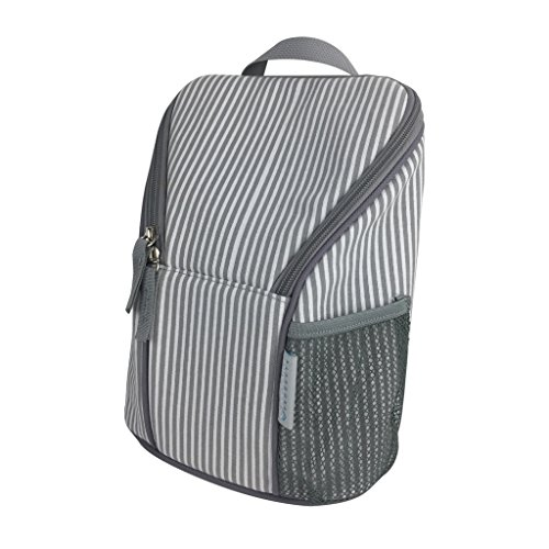 KidZone by IPP - Baby Bottle Bag - Insulated Tote, Dual Zipper, Mesh Pocket with Ice Pack (Grey Trim - Grey/White Mini-Stripe)