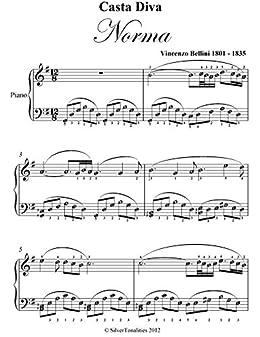 Casta diva norma bellini elementary piano sheet music ebook vincenzo bellini silvertonalities - Norma casta diva bellini ...