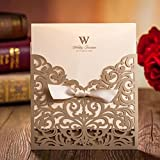 Gold Square Laser Cut Flower with Bowknot Lace Pocket Engagement Wedding Invitations Card CW5011 (100)