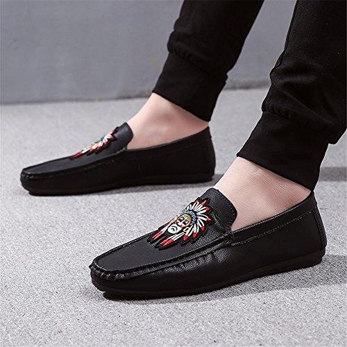 Slip y Libre Negro HUAN Informal Hombres Para Ons PU Oficina Los de Zapatos Mocasines Black Carrera Al y Aire Verano 0U0T8