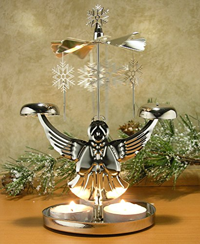 Angel Chimes Candle Spinner - Snowflakes and Angel Candle Holder - Scandinavian Angel Style Christmas Candle (Metal Angels Candle Holder)