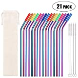 Metal Straws Stainless Steel Straws 16 Pcs 10.5 Curved Reusable Drinking Straws Multi Colored Rainbow Straws for 20 24 30 OZ Yeti Tervis Rtic Tumblers with 16 Silicone Tips 4 Cleaning Brush 1 Case