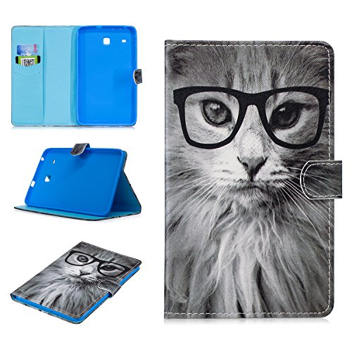 Galaxy Tab E 8.0 SM-T375/T377 Case, Uliking Slim Lightweight Folio Stand PU Leather Wallet TPU Cover with Pocket Card Holder Magnetic Closure for Samsung Galaxy Tab E 8.0-Inch T375/T377A/V/P, Cute Cat -