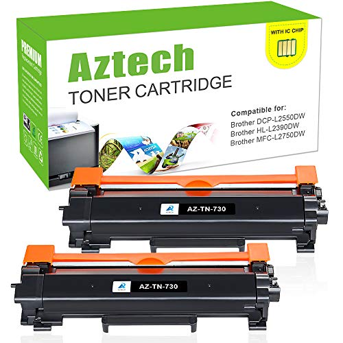 With Chip-Aztech Toner Cartridge Replacement for Brother TN730 TN-730 TN760 HL-L2350DW HL-L2395DW for Brother DCP-l2550DW HL-l2390DW HL-L2370DWXL MFC l2710DW MFC-L2750dw HL-l2370DW Printer (2 Packs)