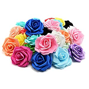 FDJHD Artificial Pe Foam Roses Flowers Heads for Fake Flower Home Wedding Decoration Artificial Flower Scrapbooking Kissing Balls Fake Flower 20pcs 7cm (Multicolor) 78