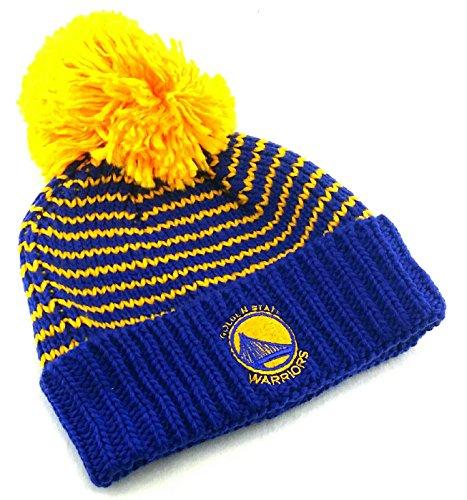 adidas Golden State Warriors New Ladies Women Beanie Pom Blue Gold Cuffed Era Hat Cap -