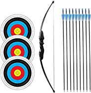 """SinoArt 54"""" Long Bow for Right Handed 30 LBs Draw Weight Archery Bow Shooting LARP Hunting Game with 9 Ar"""