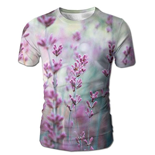JeanCo Mens Beautiful Detail Of Scented Lavender Flowers Field In Perfect Radiant Orchid Color Of The Vintage Tshirts White L ()