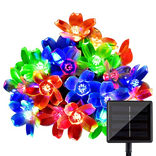LightsEtc Solar String Lights, 15.7ft 20 LED Multi-Color Fairy Blossom Flower Garden Lights for Indoor and Outdoor, Home, Lawn, Wedding, Patio, Party