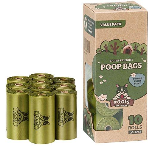 Sacs Pogi's pour Déjections Canines - 10 Rouleaux (150 Sacs) - Grands, Biodégradables, Parfumés, Etanches