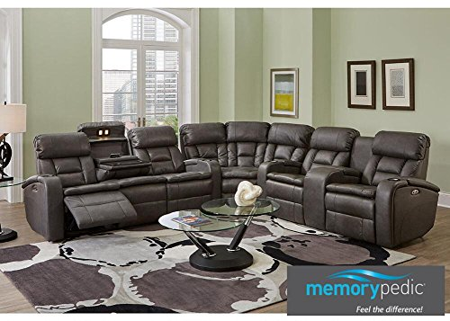 Gotham Gray 3 Pc. Power Reclining Sectional With Memory-Pedic Foam - Loveseat - Sofa - Wedge - Console - Sectional Wedge