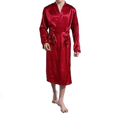 Amzchoice Men V Neck Satin Robe Kimono Long Bathrobe Lightweight Sleepwear Wedding at Men's Clothing store