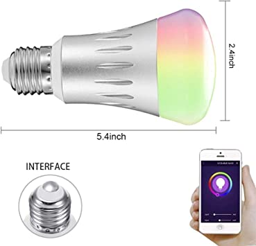 Smart LED Light Bulb Switch Multicolored Lights Bulbs The Night Reading Light /Compatible with Alexa and Google Assistant 2 Pack