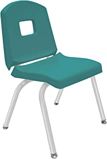 "product image for Creative Colors 1-Pack 14"" Kids Preschool Stackable Split Bucket Chair in Teal with Platinum Silver Frame and Self Leveling Nickel Glide"