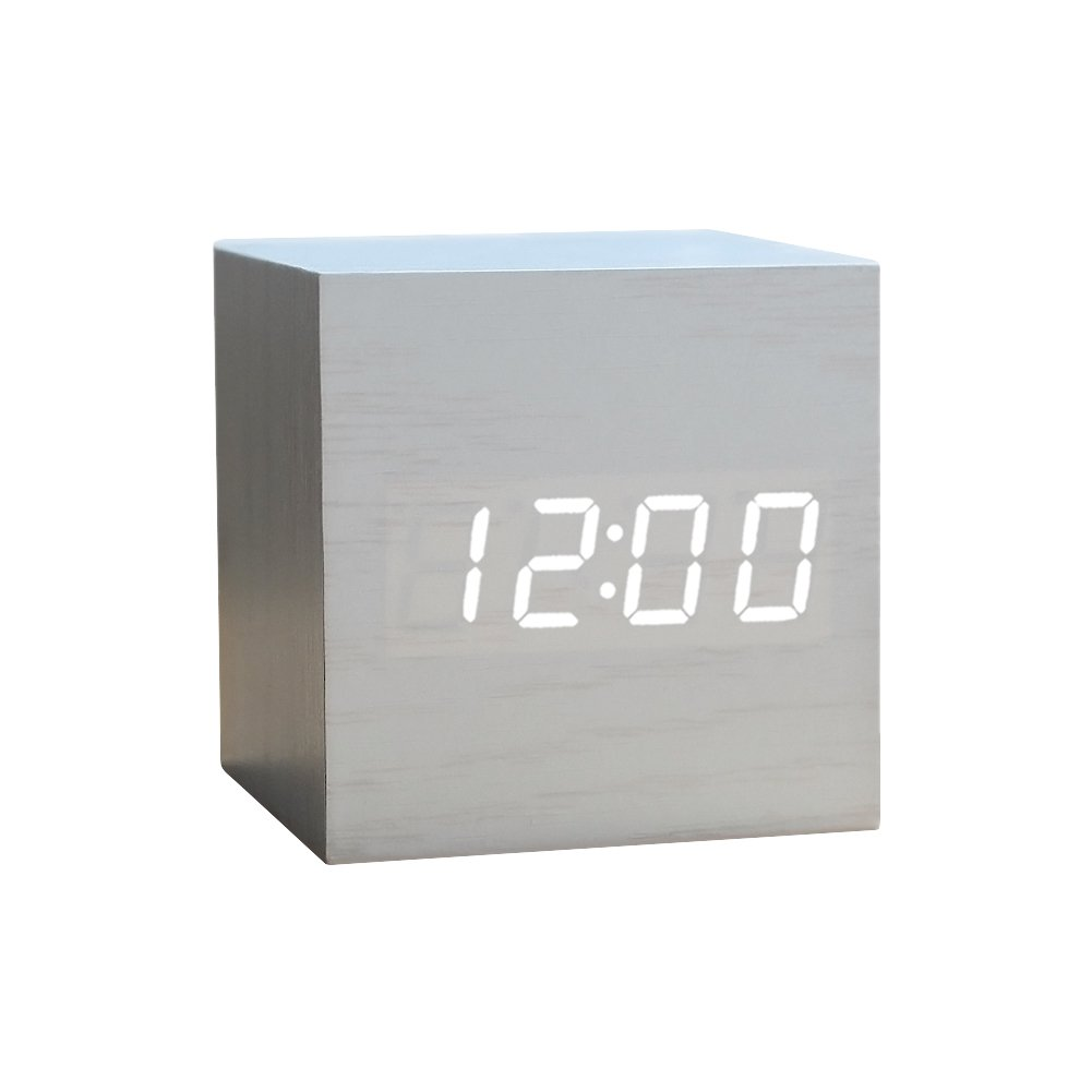 Wood Alarm Clock Digital LED Light Minimalist Mini Cube with Date and Temperature for Travel Kids Bedroom-White by WulaWindy
