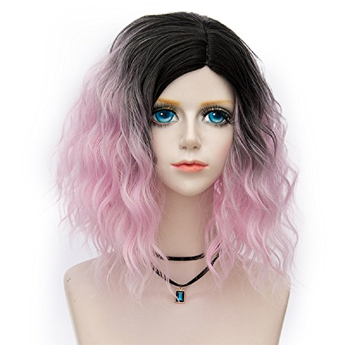 Probeauty Swinger Collection Ombre Hair Costume Wigs Women Central Part Cosplay Wig (Baby Pink F14) (Baby Cruella Deville Costume)