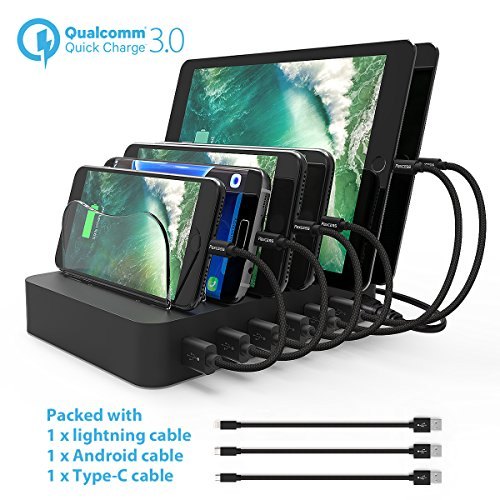Dock Station Cradle - Paxcess Charging Station 60W 12A 6 Port USB Charger QC 3.0 Quick Charge Charging Dock, Phone Charger Multi Port Desktop Charging Station with Removable Baffles for Multiple Devices iPhone/iPad/Tablet