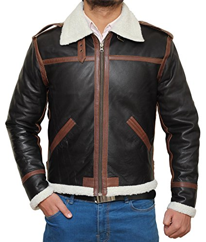 Arizona B2 Bomber Brown Stripe Winter Real Shearling Leather Jacket Mens | L