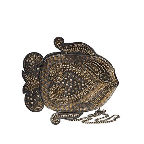 Eric Javits Luxury Fashion Designer Women's Handbag - Heart Fish - Black/Gold Mix by Eric Javits