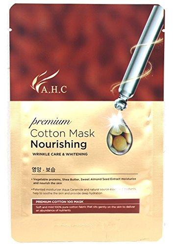AHC 10 pcs Nourishing Mask 28ml(1.4 oz), 100% Cotton,Hypoallergenic Test Completed, Premium cotton mask nourishing, A H C Korean Cosmetics-2017 New