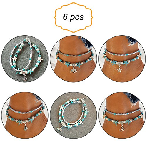 (Fengxun Mermaid Anklets Multi Layered Turquoise Shell Boho Beach Sliver Charm Anklet for Women Set 6 Pack)