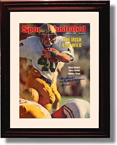 Framed Notre Dame The Irish Ran Wild Terry Eurick 1976 Sports Illustrated Autograph Replica Print
