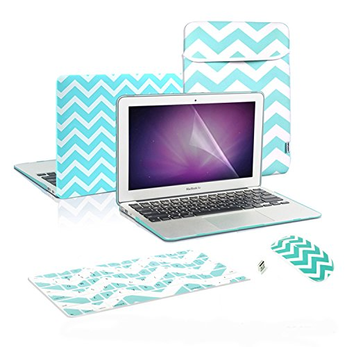 TOP CASE 5 in 1 - Chevron Hot Blue Rubberized Hard Case and Keyboard Cover + Screen Protector + Sleeve Bag + Wireless Mouse Compatible with Apple MacBook Air 13