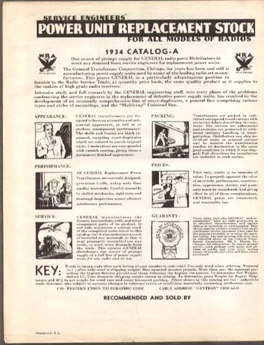 (Service Engineers Power Unit Replacement catalog 1934)