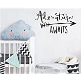 Travel Theme Wall Decal Quotes Wall Sticker Adventure Awaits With Arrow Wall Decal Kids Boys Bedroo Wall Art Decor Nursery Decor Adventure Wall Sticker NY-360 (42x76cm, Black)
