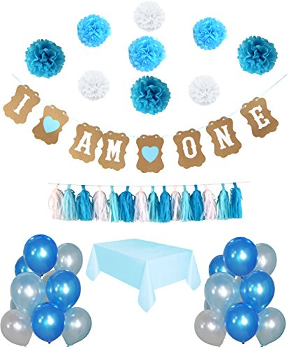 """1st Birthday Boy's Decoration kit- Complete 50 Pcs set Party Decoration- Beautiful Colors for First Baby Boy's Birthday - """"I'm One"""" Banner - Latex pearl Balloons-Paper Pompom decorations-Tassel Garlan"""