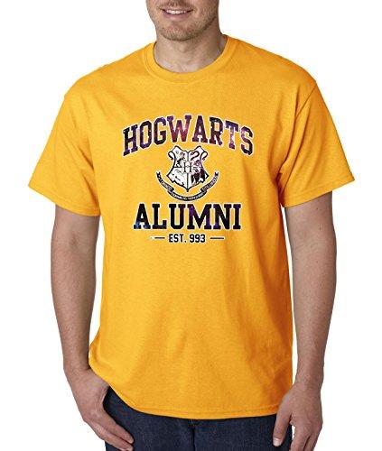 New Way 214 - Unisex T-Shirt Hogwarts Alumni Galaxy Harry Potter Large Gold (Alumni Tee)