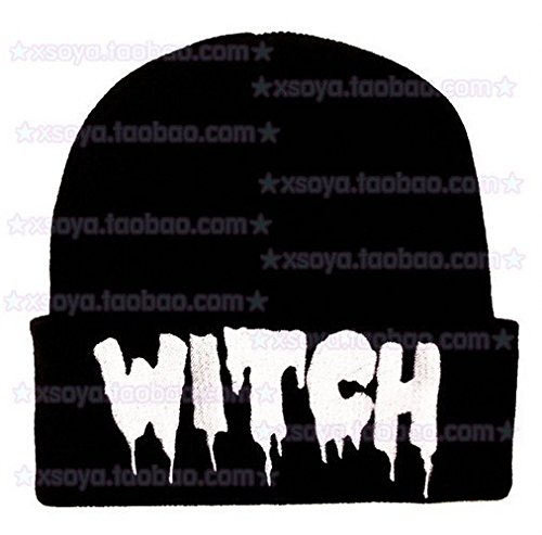 Color: Black HYLong Order get gift 2015 Unisex Women Men Autumn Winter Punk Letter Knitted Cap Elastic Hat WITCH Hip-hop Pullover Warm Wool Hats