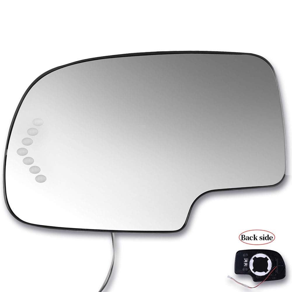 SCITOO Compatible fit for Exterior Mirror Replacement Glasses Driver Left Side Power Heated Signal 2003-2007 Chevrolet Silverado Suburban GMC Sierra Yukon Replacement Tow Mirror by SCITOO
