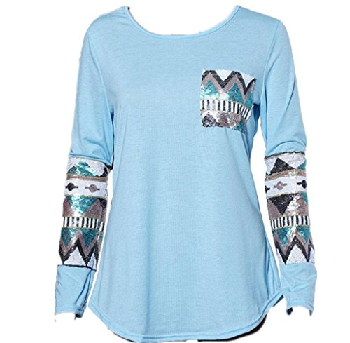 Gillberry Womens Ladies Pocket Sequins Splice Long Sleeve Tops T Shirt Blouse (M, - Boots Sunglasses Prescription