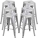 Cheap Topeakmart 2016 NEW Set of 6 Metal Steel Bar Stools Vintage Antique Style Counter Bar Stools