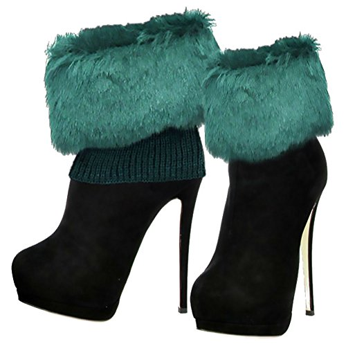 Topper Green - Icon Women's Cozy Faux Fur Knitted Boot Toppers Boot Cuffs Boot Toppers (Emerald)