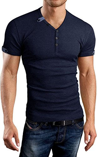 Aiyino Mens Summer Slim Fit V-Neck Button Cuffs Cardigan Short Sleeve T-Shirts US M Navy by Aiyino