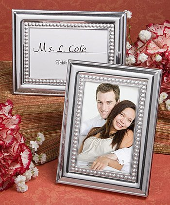 Polished silver domed placecard / frame with caviar inner beading Our price is for 4 units - 2x3 ()