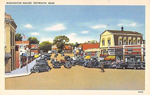 Weymouth Massachusetts Washington Square Street Scene Antique Postcard K58693