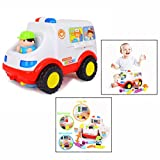 Cisixin Ambulance Rescue Vehicle Bump and Go Car Toy Realistic Sound Effects and Lights With Various Medical Equipment