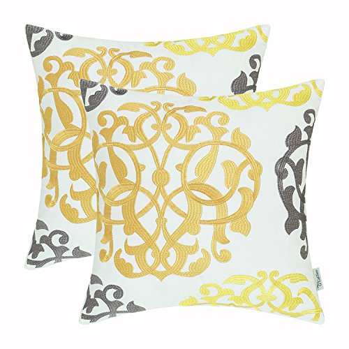 (Pack of 2 CaliTime Cotton Throw Pillow Cases Covers for Bed Couch Sofa Vintage Compass Geometric Floral Embroidered 18 X 18 Inches Gold Yellow Gray)