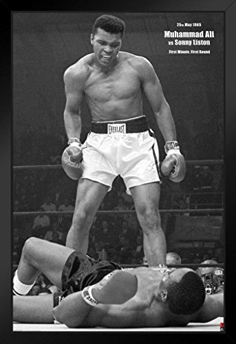 Pyramid America Muhammad Ali vs Liston First Minute Round Boxing Knockout Sports Framed Poster 14x20 inch