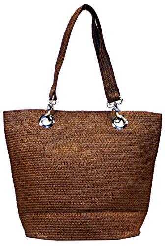 Lightweight Woven Tote (Summer Fun Women's Lightweight Woven Braid Vibrant Shoulder Tote Bags (Brown))