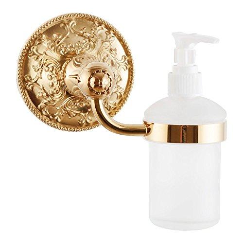 Price comparison product image Liquid Soap Dispenser Holder Solid Brass Exquisite Carved Bathroom Accessories Titanium Gold APL-6315
