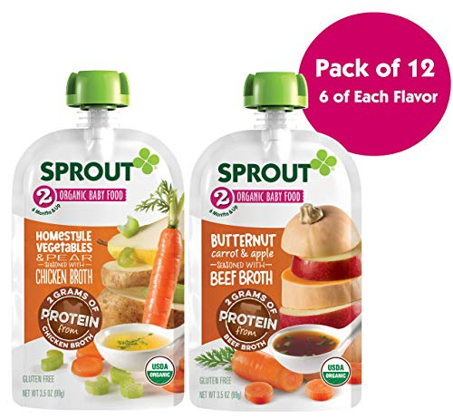 Sprout Organic Baby Food Stage 2 Variety Bone Broth Pouches, 12Count