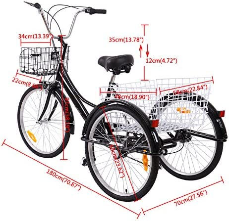 Ridgeyar - Bicicleta de tres rueda de 24 pulgadas, seis ...