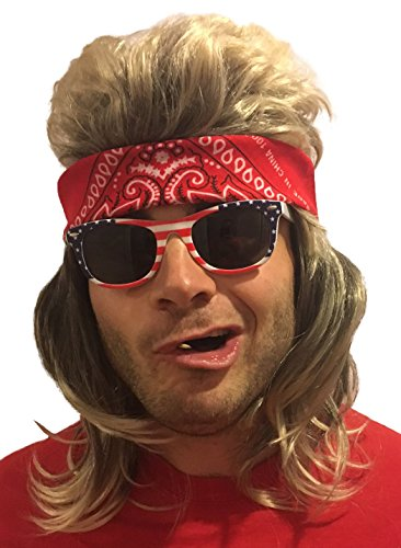 4 pc. Premium Dirty Blonde Mullet Wig: Redneck Halloween Costume 80s Wig Mullets for Kids Adults Hillbilly Costumes Blond Women's Men's 80's Mullet Wigs for Men Children (Red Bandana, USA Sunglasses) -