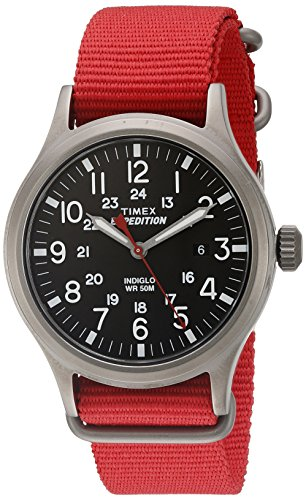 (Timex Men's Scout | Red Strap Black 24-Hour Dial Luminous | Outdoor TW4B04500)